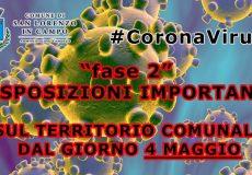 Emergenza Coronavirus, 'Fase 2': disposizioni importanti dal 4 maggio che riguardano il territorio di San Lorenzo in Campo