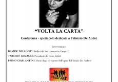 """Volta la carta"": conferenza-spettacolo dedicata a De Andrè"