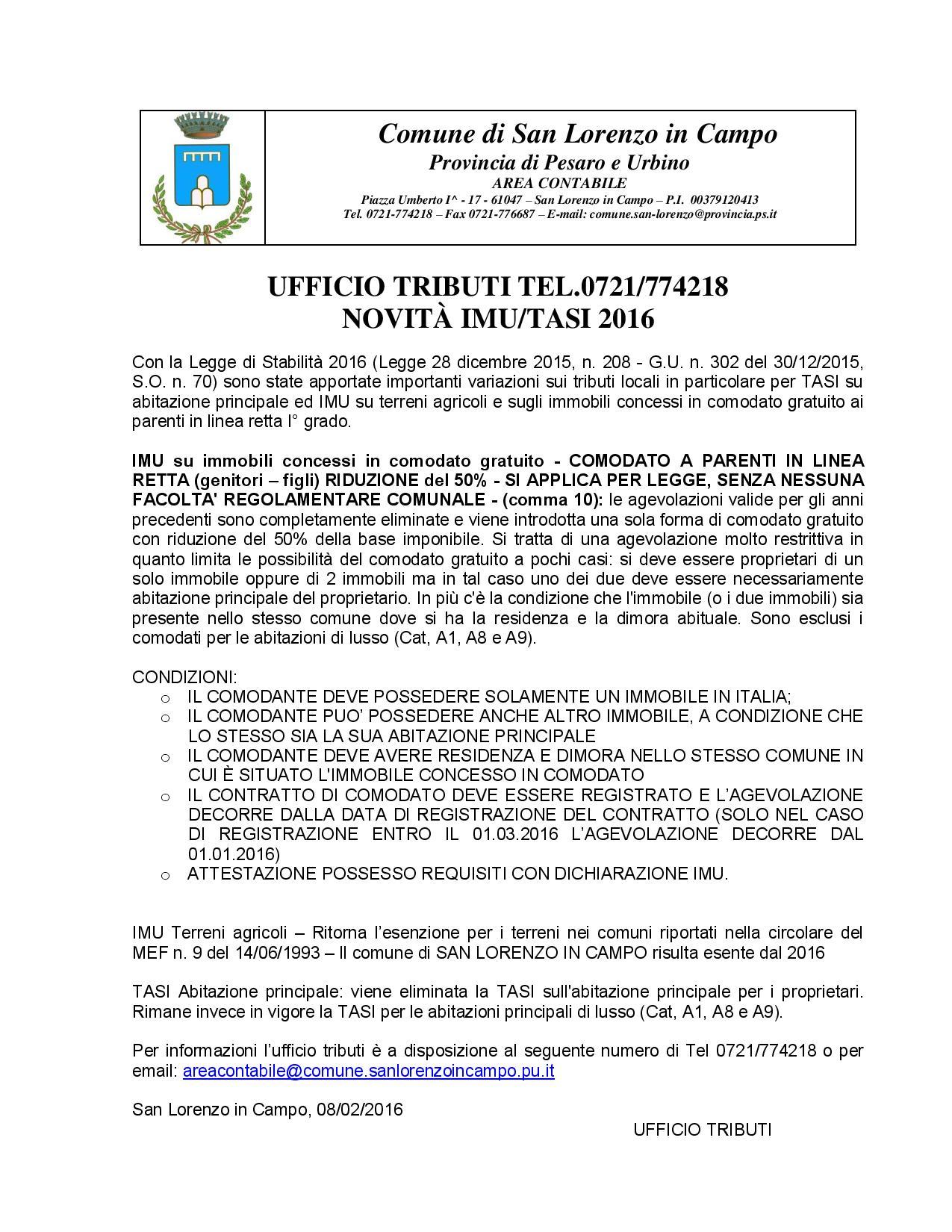 Novit imu tasi 2016 comune di san lorenzo in campo for Comodato gratuito imu