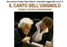 """A teatro """"Il canto dell'usignolo"""": poesie e teatro di Shkespeare"""