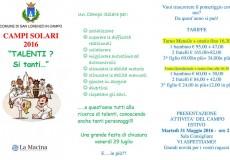 """Campi solari 2016: """"Talenti? Si tanti…"""""""