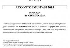 Acconto Imu-Tasi 2015. Scadenza 16 giugno 2015 – Avviso pagamento tributi scaduti