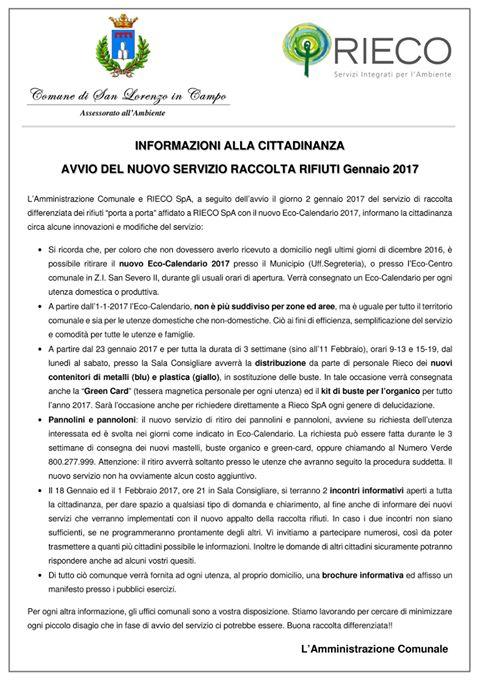 raccolta rifiuti-informazioni ai cittadini-genn2017