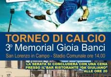"""Torneo di calcio Terzo Memorial """"Gioia Banci"""""""